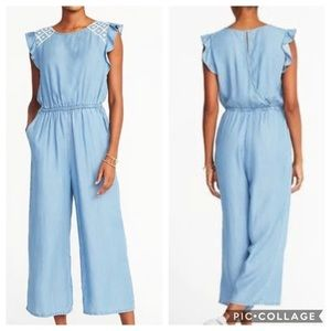 Old Navy | Denim Chambray Embroidered Jumpsuit